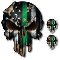 3pk thin green line skull decal window sticker car truck military soldier troops