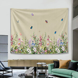 Plant Butterfly Wall Tapestry Throw Wall Hanging Blanket Bedspread Home Decor