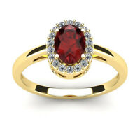 14K YELLOW GOLD  1 CARAT OVAL SHAPE GARNET AND HALO DIAMOND RING