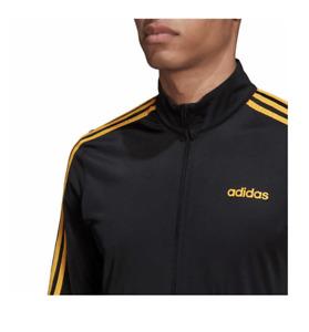 adidas Essentials 3-Stripes Tricot Track Top Men's Black / Yellow size M