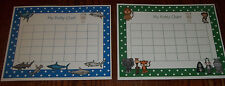 2 Laminated Sharks and Zoo Animals Potty Charts. Health and Hygiene Accessories.