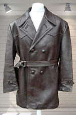 Vintage French Vêtements Leather Belted Jacket - La Qualité Frappe CHATEAUROUX L