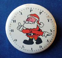 Hallmark BUTTON PIN Christmas Vintage SANTA CLOCK Happy Holidays 1970s RARE