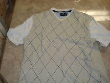 Tartan Blue Russell Simmons Men's Short Sleeve Beige w/Diamons Shirt Size M
