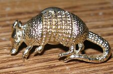 Vintage Silver & Gold Tone Armadillo Design Two Charms & Pin Brooch Super Cute