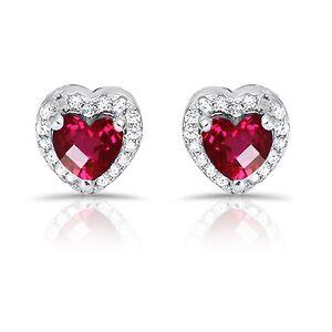 Ruby Red Heart Simulated Diamond Genuine Sterling Silver Stud Earrings