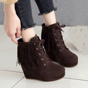 Women Short Ankle Boots Tassel Platform Wedge Lace Up High Heels Booties Shoes