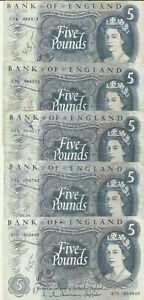 GREAT BRITAIN UK LOT 5x 5 POUNDS 1970 P 375. SAME IN SCAN. 8RW 01JUL