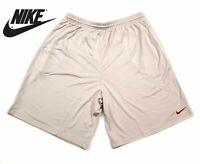 New Nike Solid Basketball Active Shorts Grey Gray Red Logo 2XL XXL