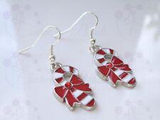 Christmas Candy Cane Dangle Drop Earrings Cute Festive Xmas Gift Red Rhinestone