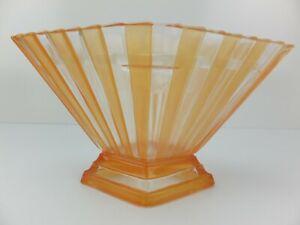 Vintage ART DECO Diamond Shaped Orange Striped Glass Vase with Flower Frog