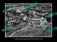OLD LARGE HISTORIC PHOTO CRAYFORD LONDON ENGLAND, AERIAL VIEW OF TOWN c1934