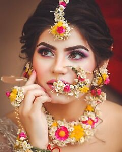 Beautiful Pink Floral Set for Haldi Ceremony wedding Function Bridal Jewelry 01