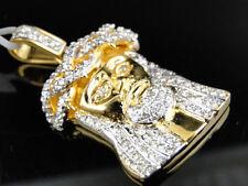 Jesus Face Piece Heavy Head Pendant 10K Yellow Gold 1.5 Inch Diamond Mini