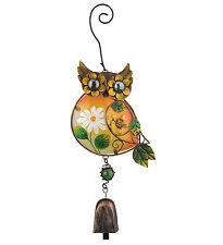 Owl Ornament Glass Metal Hanging Bell NEW door chime suncatcher garden nature