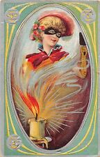 1913 Lady Masked Costume & Lit Candle Halloween post card