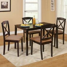 Farmhouse Dining Table Set Small Wooden Espresso Kitchen Dinette 5pc 4 Chairs
