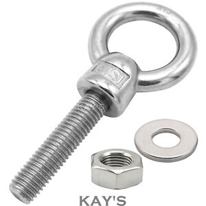 LIFTING EYE BOLTS NUTS & WASHERS A4 MARINE GRADE STAINLESS STEEL M6 M8 M10 M12