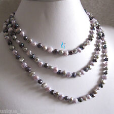 """Pearl Necklace Gray Peacock Gray-Pink 50"""" 5-6mm Multi Color Baroque Freshwater"""