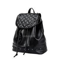 Korean Style Women Ladies PU Leather Backpack Rucksack Rivet Travel School Bag