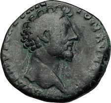 MARCUS AURELIUS 156AD Sestertius Rome Ancient Roman Coin Fortuna Luck i58676