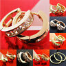 Hoop Drop Stud Earrings 18k Yellow White Rose G/F Gold Dangle Diamond Simulated