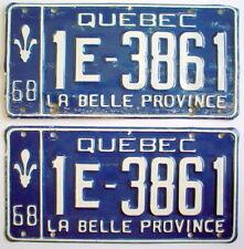 ONE LOT OF TWO 1968'S QUÉBEC AUTO PLATES *** 2 PLAQUES D'AUTO QUÉBEC 1968
