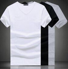 Мужской v-образный вырез круглый вырез хлопок футболка приталенная короткими рукавами, однотонная повседневная