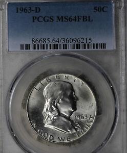 Nice Uncirculated 1963-D Franklin Half Dollar - PCGS MS64FBL!