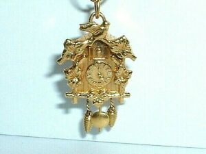 VINTAGE 14k YELLOW GOLD 3D MOVEABLE CUCKOO CLOCK CHARM PENDANT