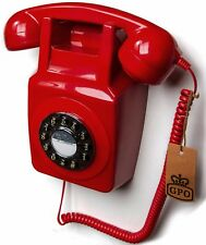 GPO 746 Push Button Dial Retro Wall Phone - Wall Mountable - Red 746WP Telephone