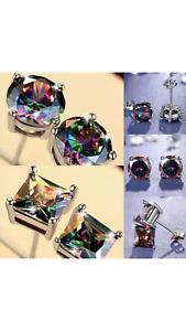 Mystic Rainbow Topaz S925 Silver Cut Cubic Zircon Stud Earrings OVAL Square MMI