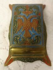 Antique Russian Brass 1800's Paper Weight Store Desk Enamel Eagle Decorated Top