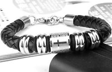 CROSS SIGNS Black Leather Braided Titanium Bracelets Men's Women Gift Present
