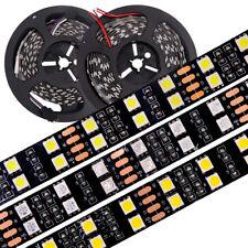 DC12V 24V 5M Double Row RGB RGBW LED Strip SMD 5050 120LEDs/m Black PCB Flexible