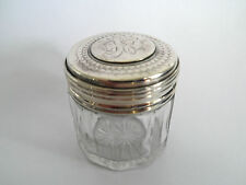 ANTIQUE SMALL SILVER Top patch POT BOX JAR HM 1904 Entwined INITIALS Glass Base