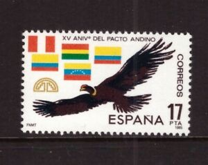 Spain MNH 1985 Birds, Flags, Andean Pact mint stamp