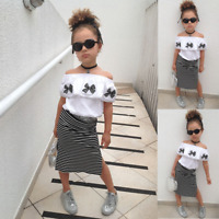 Toddler Kid Baby Girl Clothes Strap Tops+Stripe Skirt Dress Summer Outfits Set