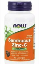 Sambucus Zinc-C Elderberry 60 Lozenges BOOST IMMUNITY, STOP COLDS, FLU now foods