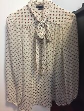 Harlowe & Graham - Long Sleeve Tie Neck Woven Blouse (Small)