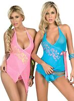 7013 Lady Sexy Pink Blue Baby Doll Teddy Lace LINGERIE Thong G-STRING S M L  XL 91f094d67