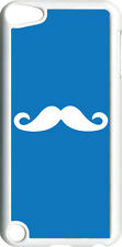 Blue and White Mustache Design on iPod Touch 5th Gen 5G Clear TPU Case Cover