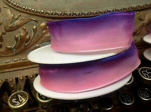 """Vintage Ribbon Rayon Acetate Ombre 5/8- 7/8"""" Pink Purple 1yd Made in France"""