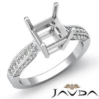 Solitaire Style Diamond Engagement Ring 14k White Gold Asscher Semi Mount 0.4Ct