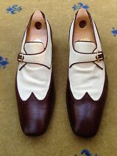 Gucci Mens Shoes White Canvas Brown Crocodile Effect Loafers UK 10 US 11 EU 44