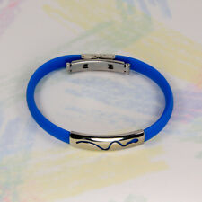 New  WRISTBAND - BLUE RUBBER WITH POLISHED STAINLESS STEEL SNAKE EMBLEM K064