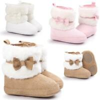 Baby Boy Girls Bowknot Warm Soft Sole Snow Soft Crib Shoes Toddler Boots 0-18M