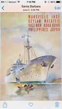 Original French Vintage Cruise Ship Travel Poster, 1950's