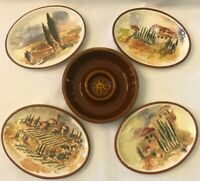 Williams Sonoma Tuscan Landscape Oval Appetizer Plates Set Of 4 With Dip Bowl