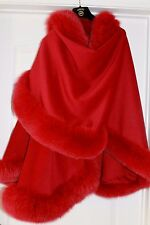 RED Cashmere Cape Wrap Shawl with Natural Fox Fur Trim CANADA Sale!